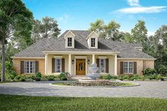 <ul><li>Features abound in this elegant Acadia-style house plan with 3 or 4 beds. Inside, the home offers high ceilings, open spaces, and a great layout.