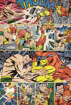 "Tales to Astonish#82(1966)interior art by Jack Kirby. This battle sequence displays the dynamic power of Kirby's storytelling. The punches can be ""felt"" even by the reader,as the energy bursts off the page into the viewer's face! This is a Kirby Hallmark!!"