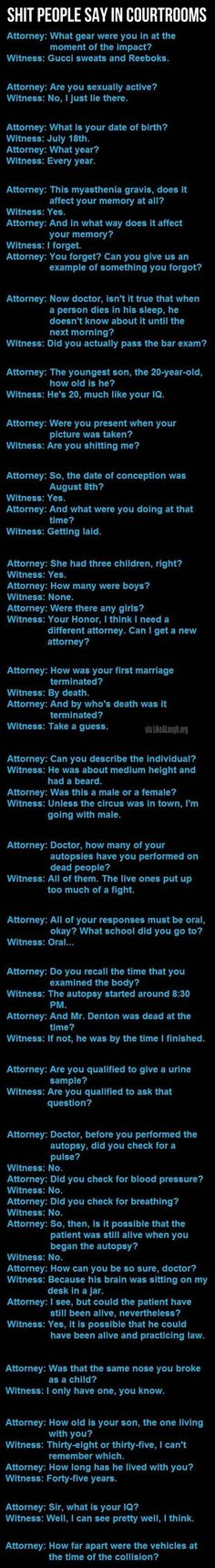 Things people say in courtrooms