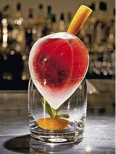 The Duke cocktail, 1 oz Cognac, 1 oz Amaro Montenegro, 1 oz vermouth, 2 drops orange bitters, 1 orange peel. Served in a hallow ice ball.