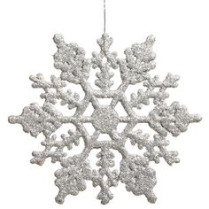 """Club Pack Of 24 3.75"""" Shimmering Silver Glitter Snowflake Ornaments ($30) ❤ liked on Polyvore featuring home, home decor, holiday decorations, christmas, glitter snowflake ornaments, snow flake ornaments, silver home accessories, silver glitter ornaments and glitter ornaments"""