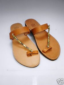 Handmade genuine leather sandals with Greek design  gold colored chain