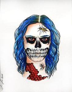Kai - Tate portrait by Endi. AHS . American Horror Story @evanpeters @ahsfx @mrrpmurphy #zombieapocalypse #sketching #fashionillustration #art #ahs  #zombie #tatelangdon #artlovers #zombiegirl #myart #artwork #illustration  #graphic  #cosplay #painting  #bluehair #paintings #watercolor #bloody #ink  #skull #evanpeters #art_supernova #ahscult #artistsoninstagram #ahs #endiart #portrait #halloween