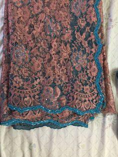 Adding a touch of turquoise to the tea rose pink chantilly lace saree Lace Saree, Chiffon Saree, Saree Dress, Saree Blouse, Indian Clothes, Indian Dresses, Indian Outfits, Indian Party Wear, Indian Wear