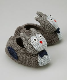 Best of Chums Gray Owl Crocheted Booties