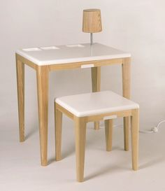 Jarl Fernaeus has designed a stool and a table with lamp and integrated charging station for cell phones, camera and MP3 player. The legs are oiled ash and table top and cushion the pallet is of the strong and flexible composite material is DuPont Corian . A simple piece of furniture that somehow feels a bit retro.