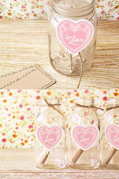 LOVE LETTERS. Another option for love letters is to have guests scribble them down & pop them in a beautiful little jar! You can download the labels for the jars here.