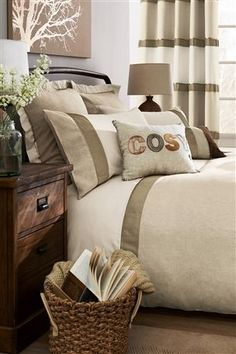 Buy Natural Panel Bed Set from the Next UK online shop Large Cushions, Large Sofa, Scatter Cushions, Cushions On Sofa, Natural Bedroom, Embroidered Cushions, Panel Bed, Neutral Colour Palette, Ideal Home