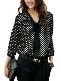 Allegra K Women's Tie-Bow Neck Dots Blouse #allegraK #women's #tiebow #neck #dotsblouse #blouse #fashion