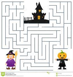 Halloween Maze Game For Kids Stock Vector - Illustration of games, quiz: 27232520 Halloween Maze, Halloween Crafts For Kids, Holidays Halloween, Halloween Party, Halloween Worksheets, Halloween Activities, Maze Games For Kids, Mazes For Kids Printable, Diy For Kids