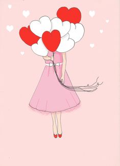 Rose Hill Designs: Sunday Sketches - Love is in the Air Valentines Art, My Funny Valentine, Happy Valentines Day, Illustrations, Illustration Art, Valentines Illustration, Heart Balloons, Pink Art, Heart Art