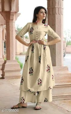 Cotton Stylish Printed Anarkali Kurta With Palazzo from Stf Store Printed Kurti Designs, Simple Kurti Designs, Stylish Dress Designs, Kurta Designs Women, Stylish Dresses, Sharara Designs, Pakistani Dresses Casual, Indian Fashion Dresses, Dress Indian Style