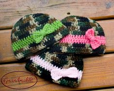 CAMO BABY BEANIE, Girls Camo with Bow, Army Baby Camo, Crochet Camo Beanie, Military Knit Baby, Camouflage Pink Hat, Newborn Camo Photo Prop by Grandmabilt on Etsy