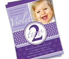 Download 2 Years Old Birthday Invitations Saying Purple Photo Invitation Wording