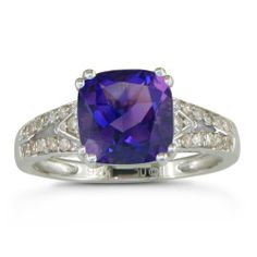 2 3/4ct Diamond and Amethyst Ring In Sterling Silver, Available Ring Sizes 4 - 9 SuperJeweler,