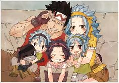 Gajeel, Levy, Lily, and the twins | Art by Rboz | Fairy Tail