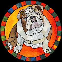 Stained glass pattern of a bulldog.