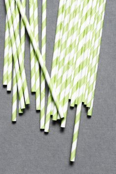 "Spiraled Shoppe Straws in Green -- frivolous but fun (and they're biodegradable so ""yay"" for that but ""boo"" that they probably wouldn't survive very long). $6.00 for 25"