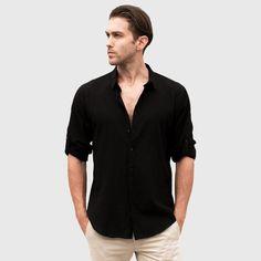 Casual Hawaiian Shirts Men Cotton Linen Designer Brand Slim Fit Man Sh
