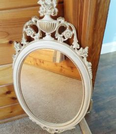 Vintage Ornate Mirror   Perfect for Shabby Chic or French Apartment  Ivory/White…