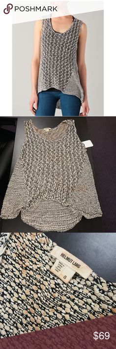Helmut Lang AS drape knit tank...NWOT... Such a high fashion piece...sold out online for $295.  Tan knit with orange distressing throughout (see size tag pic)  very nice piece. Helmut Lang Tops Tank Tops