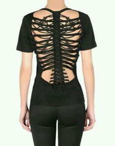 Skeleton cut black shirt gothic