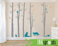 Birch Decal with Woodland Animals 5 Birch decal Fox by InkSprouts