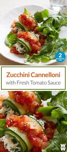 Zucchini Cannelloni with Fresh Tomato Sauce: 2 SmartPoints value | Freshen up your dinner with this creative way to eat zoodles. #FreshFoodsFeb