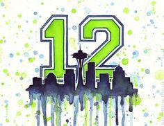 Seattle 12th Man Fan Art Watercolor Skyline Space by OlechkaDesign