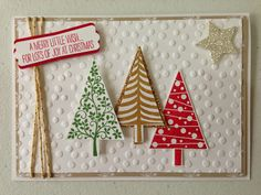 Angeliki Kolo Independent Stampin' Up! Demonstrator. All Products Stampin' Up! Festival Of Trees Stamp Set; Decorative Dots Embossing Folder; Trim the Tree Papers