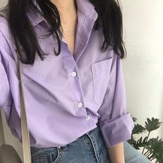 purple aesthetic shirt pastel light korean soft minimalistic kawaii cute g e o r g i a n a : a e s t h e t i c s Punk Outfits, Indie Outfits, Grunge Outfits, Lila Outfits, Purple Outfits, Lavender Aesthetic, Purple Aesthetic, Aesthetic Beauty, Lolita Outfit