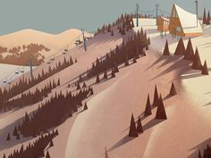 Parkcity Illustration, by Tyler Carter. Dribble. #mountains #snow #ski