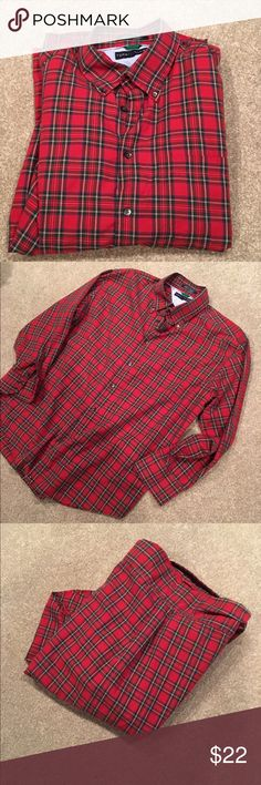 """Tommy Hilfiger long sleeve cotton shirt casual XL Looks like Scottish plaid . 💯% cotton. Extra buttons. Meas 24"""" across chest. Sleeve inseam 17"""". Length 29""""  across shoulders in back 20"""". Excellent condition. Tommy Hilfiger Shirts Casual Button Down Shirts"""