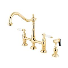 Shop Elements of Design Polished Brass 2-Handle High-Arc Sink/Counter Mount Traditional Kitchen Faucet Side Spray Included at Lowes.com