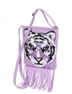 Fringe Sequin Tiger Crossbody Bag