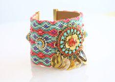 OOAK Luxury Flower Swarovski Friendship Bracelet Jewelry Ultra Wide Cuff,bohemian indian gypsy,Ethnic boho on Etsy, $115.00