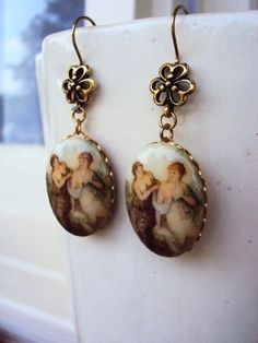 Vintage French Limoge Style Cameo Earrings by primitivepincushion, $16.50