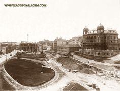 Palacio da Prefeitura e Parque do Anhangabaú em construção.  Data: 1916