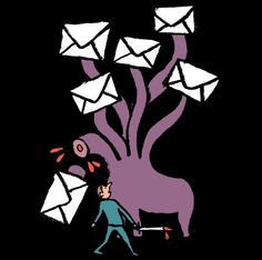 Answering Emails is like fighting a hydra: answer one and another one will appear | Jean Jullien