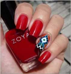 Zoya Nail Polish in Kristi with Print accent nail