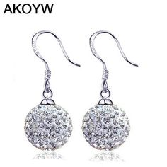 Silver plated crystal ball earrings wild retro jewelry full lovely lady fashion high quality jewelry manufacturers, wholesale
