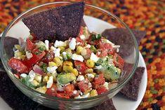 Avocado and Grilled Corn Pico de Gallo -- a fresh salsa for chips, tacos, nachos, fajitas, and more of course use gf chips and do a veggie fajita using this salsa super excited