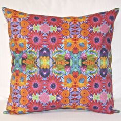 Crazy Daisy Reversible Pillow. Original design. Choice of tassels. www.bluethistlearts.com