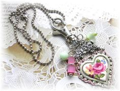 Victorian Style Purse Pull Handbag Accessory Zipper Boots Charms Heart Roses Beads Skeleton Key Necklace Silver Ball Chain #heartcharm