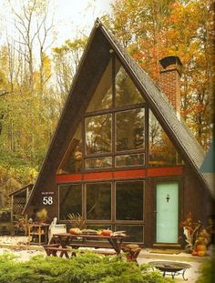 New Hampshire A-frame house.  LOL. My friends had a house just like this 21 years ago.