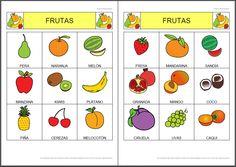 MATERIALES - Bingo de frutas.    Bingo de frutas, compuesto por dos cartones con nueve frutas distintas en cada uno de ellos.    http://arasaac.org/materiales.php?id_material=782