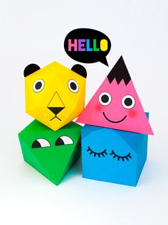 Printable polyhedra characters // minieco.co.uk