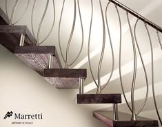 Interior: A Gaudi Style Double Banister, modern staircase railings . Modern Staircase Railing, Stair Railing Design, Stair Handrail, Modern Stairs, Banisters, Staircase Decoration, Balustrade Inox, Balustrades, Escalier Design