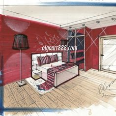 """E-course on hand rendering with markers (""""Basic"""" level) for interior designers…"""
