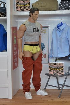 1/6 scale Hot Toys Advanced Muscular TTM 20 action figure in custom clothes - briefs underwear jeans pants cut off CIA shirt